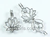 five pieces lotus flower design silver plated copper pendant