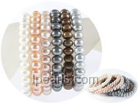 wholesale 6 rows multi-colors button freshwater pearl stretch br