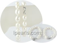 wholesale 9-10mm rice freshwater pearl Mother Daughter bracelet