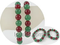 wholesale 10mm green and red jade Mother Daughter bracelet