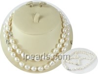 wholesale 9-10mm rice pearl Mother Daughter necklace