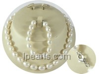 wholesale 9-10mm rice pearl Child&#39s necklace and bracelet set