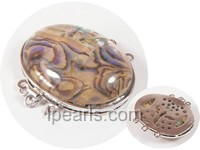 3*4cm 3 rows colorful solid oval abalone shell clasp