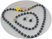 6-6.5mm black round akoya salt water pearl set