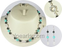 wholesale 6.5-7mm black akoya pearl necklace and earrings