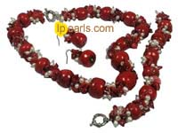 red coral necklace and earrings set freshwater pearl