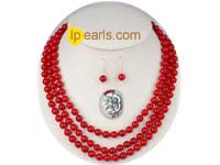 three strands 8mm round red coral necklace and earrings set