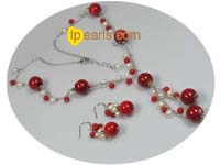 Fanshion 12mm coral sterling silver Y style necklace earrings se