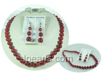 beautiful multi-size red coral sets of necklace and earrings