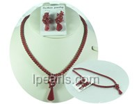 special 5mm red coral dangling earrings and necklace sets