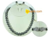 10-11mm black round freshwater pearl set