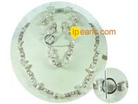 different shape of freshwater pearl with crystal set