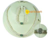 7-8mm white freshwater with green jade bead pearl set