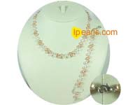 white and pink 6-7mm side drilled bread pearl jewelry set