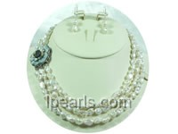 three strands Keishi freshwater pearl necklace set