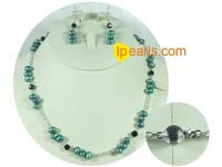 7-8mm green freshwater pearl necklace and earrings set
