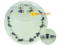 7-8mm top drilled pearl and crystal jewelry set