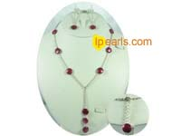 12mm red coin pearl jewelry necklace&earrings set