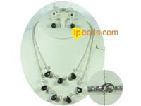 7-8mm potato pearl with drop crystal beads jewelry set