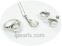925 silver pearl pendant and earrings jewelry set