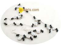white and black keshi pearl costume necklace set