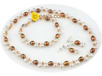 Stylish freshwater pearl bridal jewlery set with Austria crystal