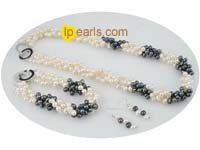 triple twisted white and black freshwater jewerly set