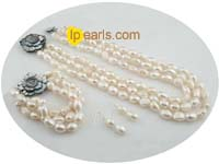 wholesale 9*11mm white baroque nugget pearl jewelry set