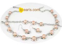 heart pattern necklace set with pink bread pearl