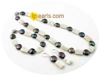 9-10mm black freshwater coin pearl jewelry set with shell pearl