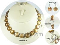 wholesale 12-13mm freshwater coin pearl jewelry set