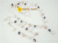wholesale sterling silver with rice pearl Y necklace set