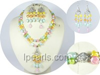 multi color nugget pearl necklace earrings set
