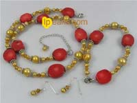 champagne nugget pearl jewelry set with coral beads