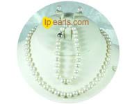7-8mm white freshwater cultured pearl jewelry set