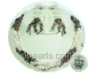 4-5mm white nugget freshwater pearl neckalce and earrings jewelr