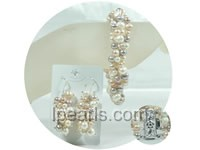 four rows multicolor potato freshwater pearl jewelry sets