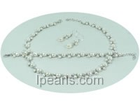 fashion white freshwater pearl sterling silver tray jewelry sets