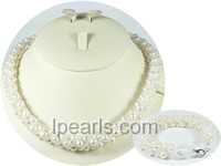 elegant 6-7mm white potato freshwater pearl necklace set