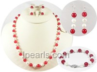 nice red jade and 6-7mm white potato pearl jewelry sets