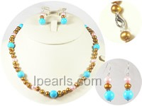 4-5mm pink and golden freshwater potato Pearl jewelry sets