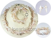 20*30mm pink cross shape keishi freshwater pearl sets