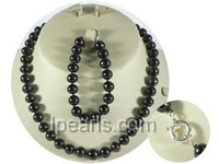 wholesale 9-10mm black round freshwater pearl necklace and brace