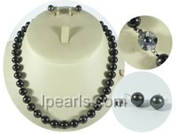 9-10mm black round freshwater pearl necklace and earrings