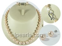 9-10mm pink round freshwater pearl necklace and earrings