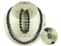 wholesale 8-9mm black round freshwater pearl necklace and bracel
