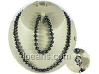 wholesale 7-8mm black round freshwater pearl necklace and bracel