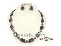 amethyst and cultured pearl necklace jewelry set