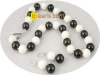14mm shell pearl alternated white tridacna bead necklace set