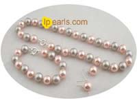 12mm peach and grey shell pearl necklace jewelry set